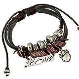 TEMEGO Jewelry Mens Womens Genuine Leather Wrap Bracelet, Vintage Beads Love ...