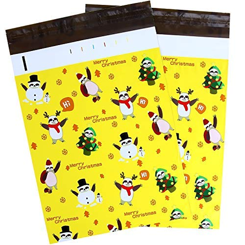 10x13 100-Pack Sloth Designer Poly Mailers, Ohuhu Christmas Shipping Envelope Mailer Bags Sealed Christmas Holiday Gifts Boutique Custom Bag Xmas Mailer Packages with Self Adhesive Strip, Yellow
