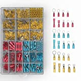 Heat Shrink Wire Connectors Kit: 570 PC Variety of Waterproof Electrical Crimp Terminals - Automotive & Marine Use. Adhesive Lined Tubing In Red Blue Yellow Butt Fork Hook Ring & Quick Disconnects Set