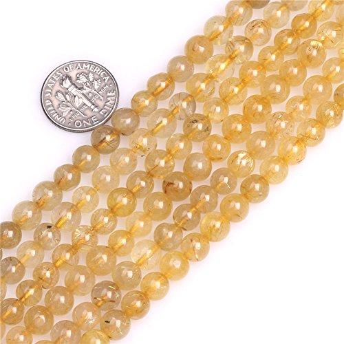 Rutilated Quartz Round Beads (6mm Round Yellow Rutilated Quartz Beads Strand 15 Inch Jewelry Making Beads)
