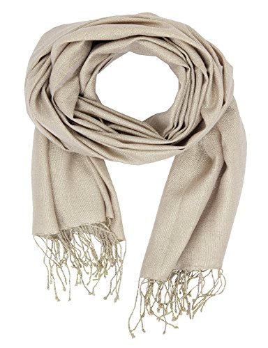KASHFAB Kashmir Womens Winter Fashion Solid Scarf, Wool Silk Lurex Stole, Soft Long Shawl, Warm Pashmina Golden - Women In India