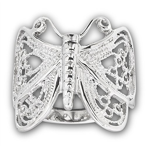 High Polish Filigree Butterfly Ring Stainless Steel Animal Wings Band Size 10 ()