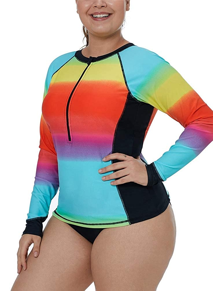 Nicetage Womens Zip Front Long Sleeve Rash Guard Color Block Swim Shirt Tankini Top Plus Size Swimsuit