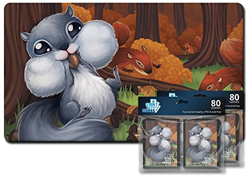 Star City Games Creature Collection Player Bundle - Squirrel (One Playmat & Two 80 ct. Packs of Sleeves) by Star City Games