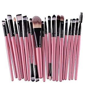 Hosaire Maquillaje Pro 20pcs pinceles Set delineador de ojos Sombra de ojos labios polvo Fundación cepillo rosa negro