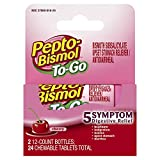 Pepto Bismol To Go Upset Stomach, Indigestion, Nausea, Heartburn and Diarrhea Relief Medicine, Cherry, 24 Chewable Tablets (2x12 Count Bottles)
