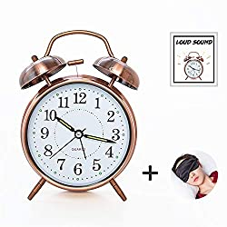 ELECPOINT [Loud Sound for Deep Sleepers] 4'' Twin Bell Alarm Clock with Backlight, Battery Operated, Loud Alarm by Retro Style (Red Brown)