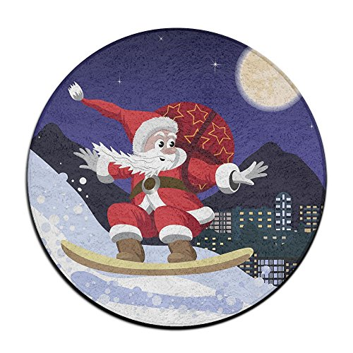 Santa Claus On A Snowboard Soft Coral Velvet Circular General Purpose Floor Mat Or Rug Use In Front Of Bedroom, Kitchen,Vanity, Bath Tub, Living Room And (Purpose Floor)