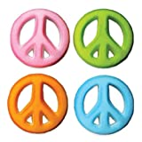 Lucks Dec-Ons Decorations Molded Sugar/Cup-Cake Topper, Peace Sign Assortment, 1.25 Inch, 80 Count
