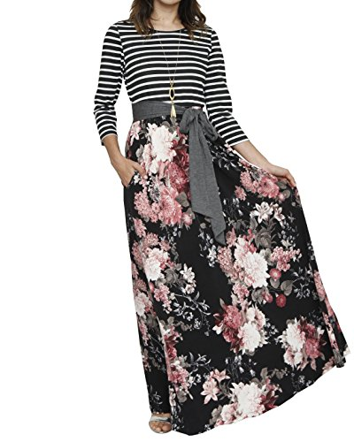 Imily Bela Womens Drap Belt Elegant Maxi Dress 3/4 Sleeve Pocketed Floral Cocktail Outfit (Skirt Drape Dress)