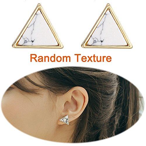 Marble Stone Ear Crawler Earrings Climber Stone Studs Cuffs Ear Wrap Pin Vine Women Simple Charm Jewelry White Triangle ()