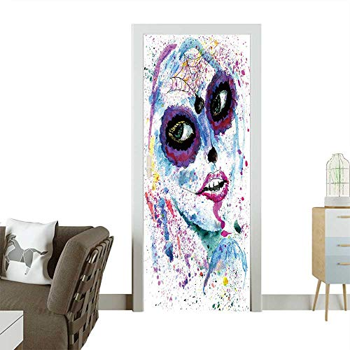 Homesonne 3D Photo Door Murals Halloween Girl with Sugar Skull Makeup,Watercolor Painting. Easy to Clean and Apply W36 x H79 INCH ()