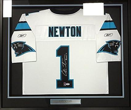 watch a4c85 0789b Carolina Panthers Cam Newton Autographed Framed White Reebok ...