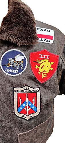 Noble House Homme Veste Aviation Top Gun Mavericks en Cuir de Taureau Marron foncé 5