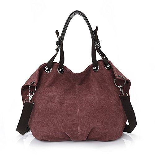 MeCooler Bolso Bandolera Mujer Vintage Bolsa Moda Clutch Bolsos Grandes Bolsos de Tela Carteras Bolsos Originales Bolsos de Mano Rojo