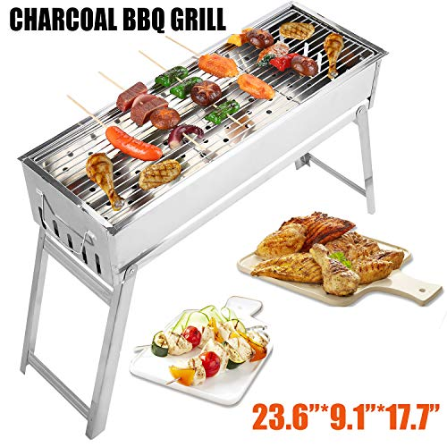 Portbale Charcoal BBQ Grill Stainless Steel Foldable Outdoor Barbecue Grill Barbecue Tool Kits for Outdoor Picnic Patio Backyard Camping Cooking (23.6''x9.1'')