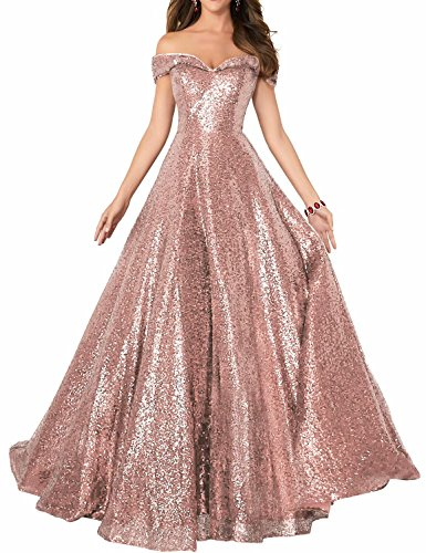 (YIRENWANSHA 2019 Off Shoulder Sequined Prom Party Dresses for Women A Line Empire Waist Robes Formal Evening Skirts Long Elegant Gowns SHPD41 Rose Gold Without Beads Size 12 )