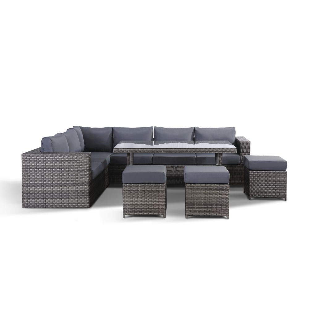 Oak Solution Layla Grey Garden Furniture Corner Sofa With Dining Table and  6 Stools Set