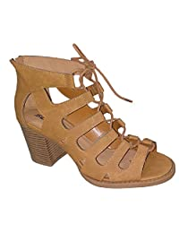 Women's Soda Myer Perforated Block Heel With Front Lace Up Tie (5.5 B(M) US Womens, Tan)