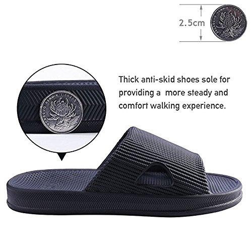 Sandals black Men Women Open Slip Stripe Anti Slippers Leisure Smile BESIDESTAR and Slipper for Bath Unisex Toe House Indoor 6Uwxg7q