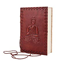 Mothers Day Gifts Peaceful Buddha Designed Leather Journal Pocket Diary (6 x 4 inches) Hand Embossed Blank Notebook with Handmade Unlined Papers