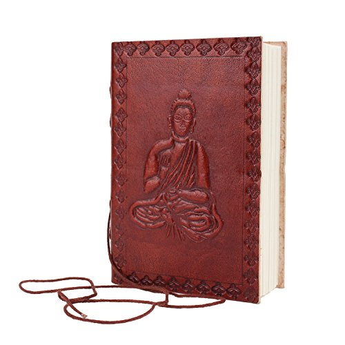 Peaceful Buddha Designed Leather Journal Pocket Diary (6 x 4 inches) Hand Embossed Blank Notebook with Handmade Unlined Papers