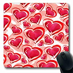NOWCustom Oblong Mousepads Rope Hearts Lips Swatch Watercolor Abstract Repeating Oblong Shape 7.9 x 9.5 Inches Non-Slip Rubber Mousepad Gaming Mouse PadSmooth cloth surface; easy cleaning and maintenance. Vibrant, full bleed, full colo...