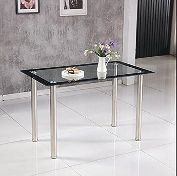 Hawastar Rectangle En Verre Trempe Transparent Table De Salle A Manger Salle A Manger Pied Chrome