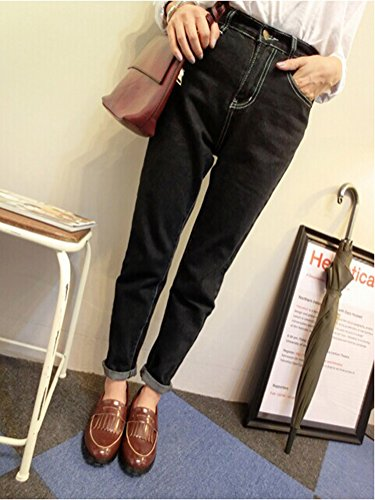 pantalones Pantalones Jeans Desgarrados Negro largos Mujer Vaqueros Skinny 4XgnqHxZZw