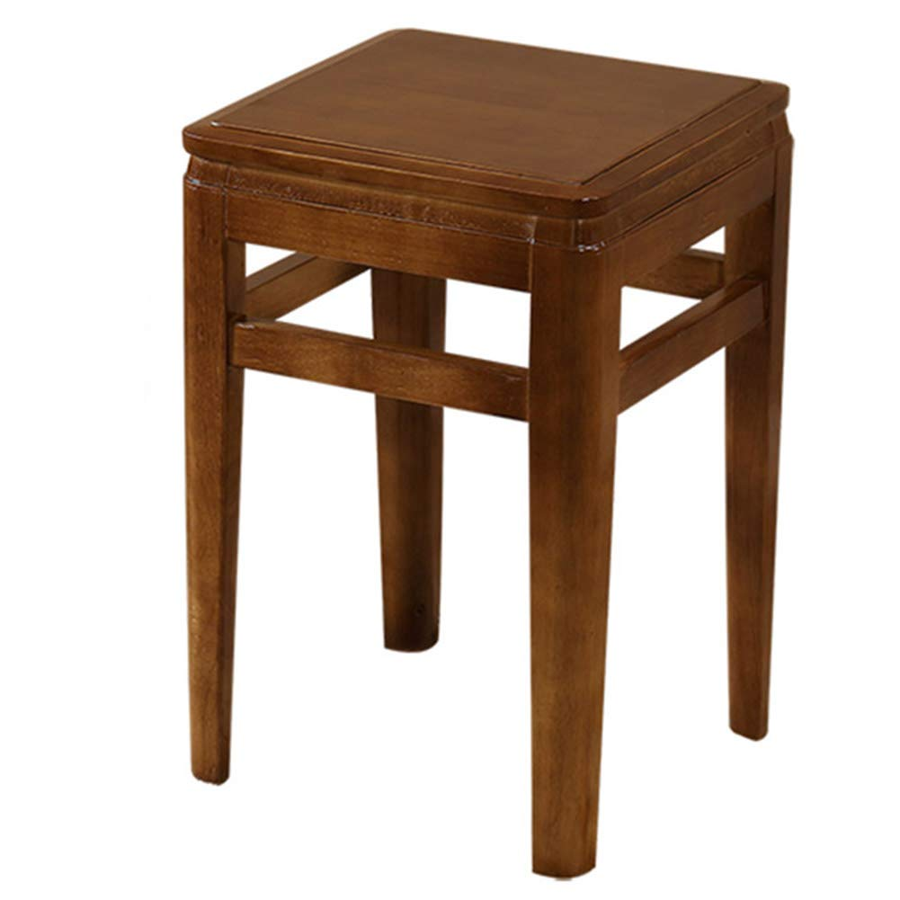 Walnut Full Stools Footstool Work Stool Solid Wood Square Stool Non-Slip Dressing Household Retro (Unit Price, 2 from The Sale) Tingting (color   Walnut, Size   Double)