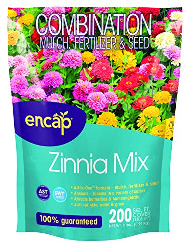 Zinna Mix from Encap - 4-in-1 Mix, Open-Pollinated, Non-GMO, with Instructions for Planting a Beautiful Garden ()
