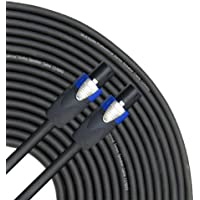 GLS Audio 100 feet Speaker Cable 12AWG Patch Cords - 100 ft Speakon to Speakon Professional Cables Black Neutrik NL4FX (NL4FC) 12 Gauge Wire - Pro 100 Speak-on Cord 12G - Single