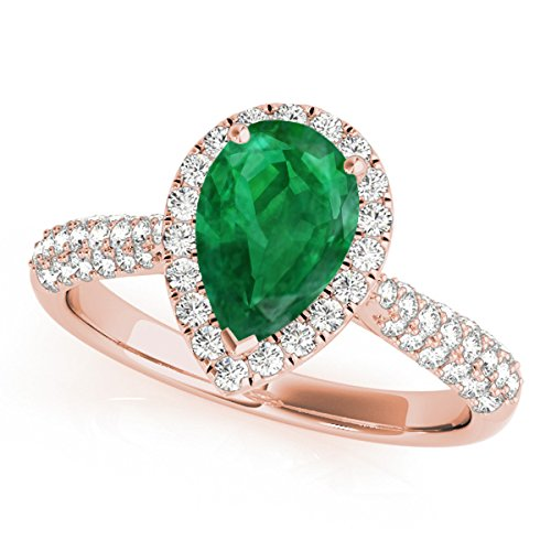 1 Ct. Ttw Diamond And Pear Shaped Emerald Ring In 10K Rose Gold