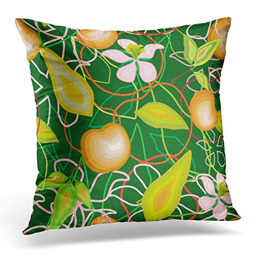 Emvency Throw Pillow Cover Pink Abstract of Apples Leaves and Flowers on Green Yellow Beautiful Blossom Decorative Pillow Case Home Decor Square 18x18 Inches (Outline Fishnet)