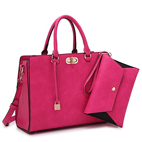 Dasein Women's Designer Leather Satchel Top Handle Shoulder Bag Padlock Tote Handbag w/Coin Purse - Gold Tone Hardware Lock