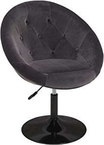 Modern Velvet Makeup Chairs for Living Room Bedroom,Mid-Century Upholstered Accent Desk Chairs Adjustable Round Tufted Back Swivel Stools, Dark Gray