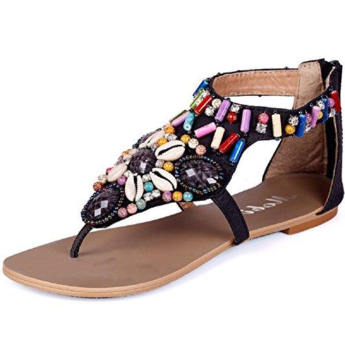 Lazutom - Sandalias de vestir de Piel Sintética para mujer negro