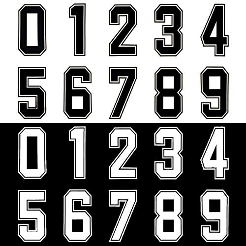 Pack of 60 Iron-On Numbers for Team Scrimmage - 8-Inch DIY Heat Transfer Number Kit for Sports Jerseys T-Shirts (Black and White)