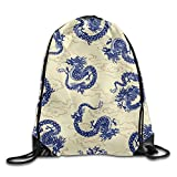 Blue Oriental Chinese Dragon Basic Drawstring Backpack Workout Sackpack For Men & Women School Travel Bag