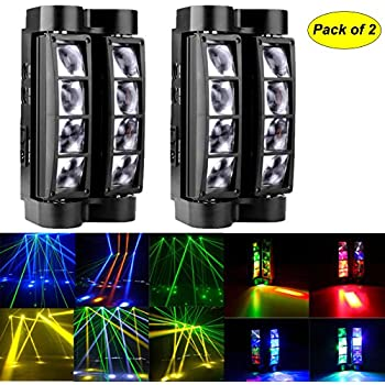 Mini Spider light,2PCS 8x3W DMX512 RGBW LED Beam Light Moving Head Stage Lighting Sound Activated Auto Running 7/15 Channels