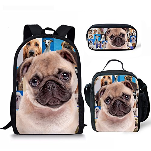 Pug Dog Kindergarten Durable Bookbag for Girl Boy Stylish Lunch Bags for Women Grade Primary School Student Office Work Men with 3D Printed Pencil Bag for a pen 3 Piece Sets 17 Inch