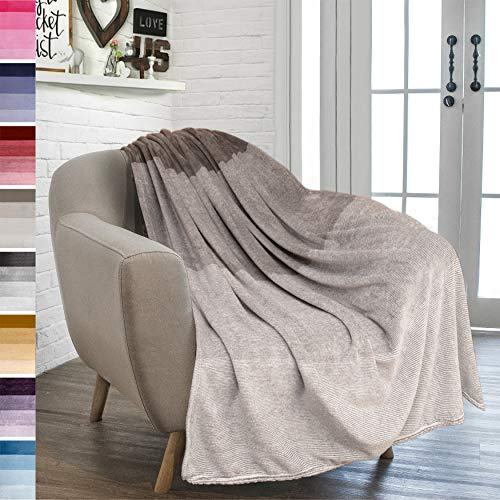 (PAVILIA Flannel Fleece Ombre Throw Blanket for Couch | Super Soft Cozy Microfiber Couch Blanket | Gradient Decorative Accent Throw | All Season, 50x60 Inches Taupe Brown)