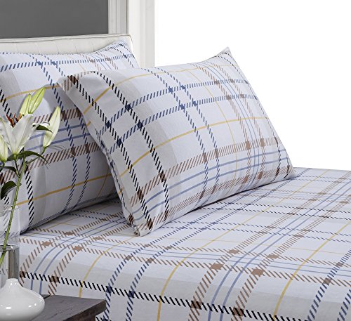 Tribeca Living Modern Printed Flannel 170 GSM Luxury Duvet Cover Set, King, Plaid, Multicolor
