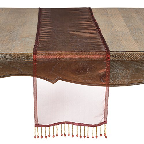 Collection Sorbet (SARO LIFESTYLE Sorbet Collection Sheer Organza Beaded Runner Chair Tie, 10