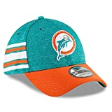 New Era Men's Miami Dolphins Aqua/Orange 2018 NFL Sideline Home Historic Official 39THIRTY Flex Hat