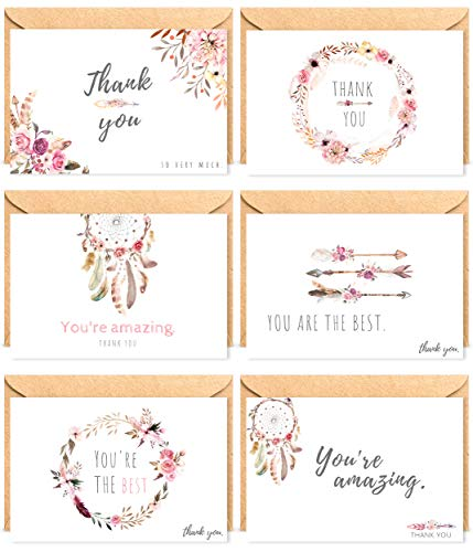 THANK YOU CARDS | Floral Card Bulk Set by THE BOHO LIFE | 60 Note Cards 6x4 inch, Kraft Envelopes & Stickers | Wedding Photo, Engagement, Baby & Bridal Shower, Graduation, Birthday | New 2019 Design