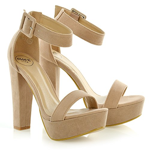 Suede Strap Shoes Womens Chunky Ladies Platform Ankle Block Heel Sole Faux Nude Sandals q1517