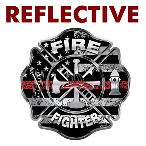 AZ House of Graphics REFLECTIVE Firefighter Thin Red Line Maltese Cross Sticker - #FS2024-REF (Firefighter Window Decals)