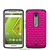 Motorola Moto X Play Diamond Rhinestone Bling Rugged Impact Heavy Duty Dual Layer Shock Proof Case Cover Skin - Hot Pink