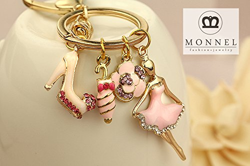 - Z624e Cute Paris Lady High Heel Shoe Umbrella Rose Flower Charms Keychain With Clasp